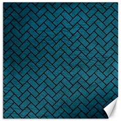 Brick2 Black Marble & Teal Leather Canvas 20  X 20