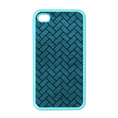 Brick2 Black Marble & Teal Leather Apple Iphone 4 Case (color) by trendistuff