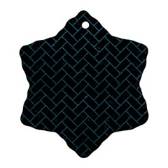 Brick2 Black Marble & Teal Leather (r) Snowflake Ornament (two Sides) by trendistuff