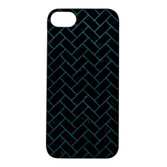 Brick2 Black Marble & Teal Leather (r) Apple Iphone 5s/ Se Hardshell Case by trendistuff
