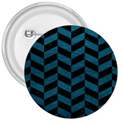 Chevron1 Black Marble & Teal Leather 3  Buttons by trendistuff