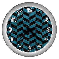 Chevron1 Black Marble & Teal Leather Wall Clocks (silver)  by trendistuff