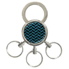 Chevron1 Black Marble & Teal Leather 3 Ring Key Chains