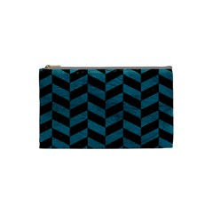 Chevron1 Black Marble & Teal Leather Cosmetic Bag (small)  by trendistuff