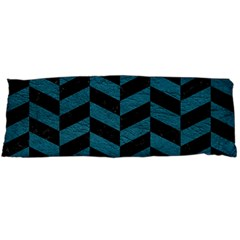 Chevron1 Black Marble & Teal Leather Body Pillow Case Dakimakura (two Sides) by trendistuff