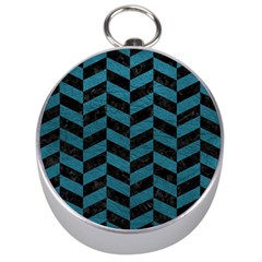 Chevron1 Black Marble & Teal Leather Silver Compasses by trendistuff