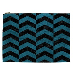 Chevron2 Black Marble & Teal Leather Cosmetic Bag (xxl)  by trendistuff
