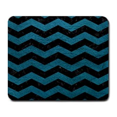 Chevron3 Black Marble & Teal Leather Large Mousepads by trendistuff