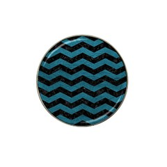 Chevron3 Black Marble & Teal Leather Hat Clip Ball Marker (10 Pack) by trendistuff