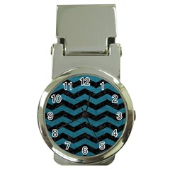 Chevron3 Black Marble & Teal Leather Money Clip Watches by trendistuff