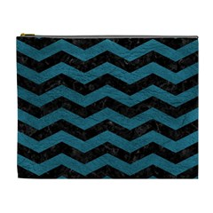 Chevron3 Black Marble & Teal Leather Cosmetic Bag (xl) by trendistuff