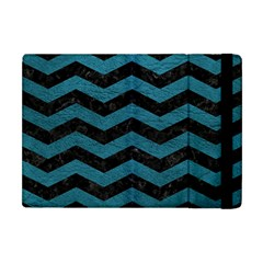 Chevron3 Black Marble & Teal Leather Apple Ipad Mini Flip Case by trendistuff