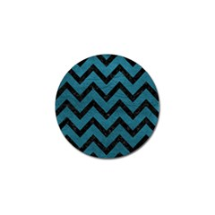 Chevron9 Black Marble & Teal Leather Golf Ball Marker by trendistuff