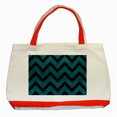 Chevron9 Black Marble & Teal Leather Classic Tote Bag (red) by trendistuff