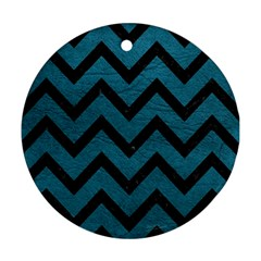 Chevron9 Black Marble & Teal Leather Round Ornament (two Sides) by trendistuff