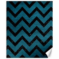 Chevron9 Black Marble & Teal Leather Canvas 11  X 14   by trendistuff