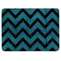 Chevron9 Black Marble & Teal Leather Samsung Galaxy Tab 7  P1000 Flip Case by trendistuff
