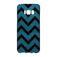 Chevron9 Black Marble & Teal Leather Samsung Galaxy S8 Hardshell Case