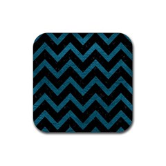 Chevron9 Black Marble & Teal Leather (r) Rubber Coaster (square)  by trendistuff