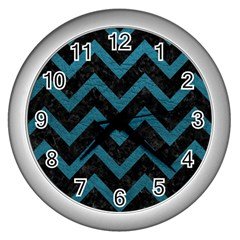 Chevron9 Black Marble & Teal Leather (r) Wall Clocks (silver)  by trendistuff