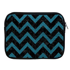 Chevron9 Black Marble & Teal Leather (r) Apple Ipad 2/3/4 Zipper Cases by trendistuff