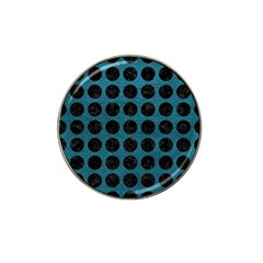Circles1 Black Marble & Teal Leather Hat Clip Ball Marker (4 Pack) by trendistuff