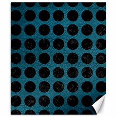 Circles1 Black Marble & Teal Leather Canvas 20  X 24   by trendistuff