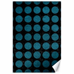 Circles1 Black Marble & Teal Leather (r) Canvas 20  X 30   by trendistuff
