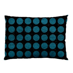 Circles1 Black Marble & Teal Leather (r) Pillow Case by trendistuff