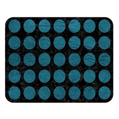 Circles1 Black Marble & Teal Leather (r) Double Sided Flano Blanket (large)  by trendistuff