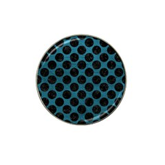 Circles2 Black Marble & Teal Leather Hat Clip Ball Marker by trendistuff
