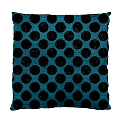 Circles2 Black Marble & Teal Leather Standard Cushion Case (two Sides)