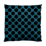 CIRCLES2 BLACK MARBLE & TEAL LEATHER Standard Cushion Case (Two Sides) Front