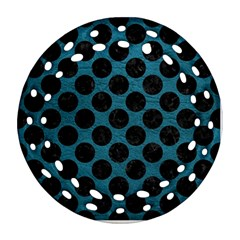 Circles2 Black Marble & Teal Leather Ornament (round Filigree) by trendistuff