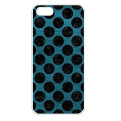 Circles2 Black Marble & Teal Leather Apple Iphone 5 Seamless Case (white)