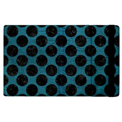 Circles2 Black Marble & Teal Leather Apple Ipad 2 Flip Case by trendistuff
