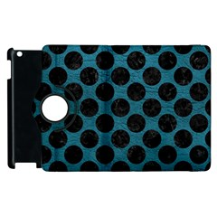 Circles2 Black Marble & Teal Leather Apple Ipad 2 Flip 360 Case by trendistuff