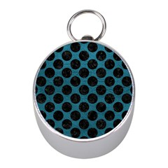 Circles2 Black Marble & Teal Leather Mini Silver Compasses by trendistuff