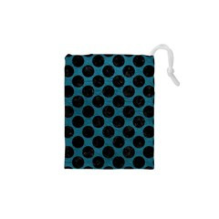 Circles2 Black Marble & Teal Leather Drawstring Pouches (xs)