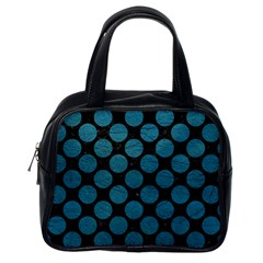 Circles2 Black Marble & Teal Leather (r) Classic Handbags (one Side) by trendistuff