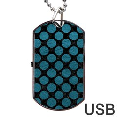 Circles2 Black Marble & Teal Leather (r) Dog Tag Usb Flash (two Sides) by trendistuff