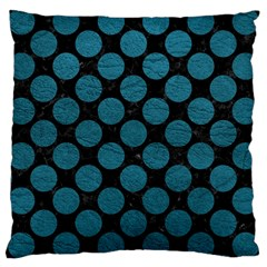 Circles2 Black Marble & Teal Leather (r) Large Cushion Case (two Sides) by trendistuff