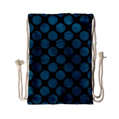 Circles2 Black Marble & Teal Leather (r) Drawstring Bag (small) by trendistuff