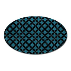 Circles3 Black Marble & Teal Leather Oval Magnet by trendistuff
