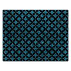Circles3 Black Marble & Teal Leather Rectangular Jigsaw Puzzl by trendistuff