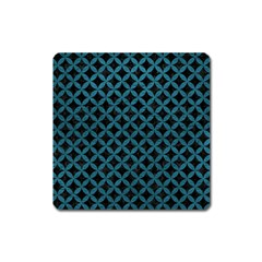 Circles3 Black Marble & Teal Leather (r) Square Magnet by trendistuff