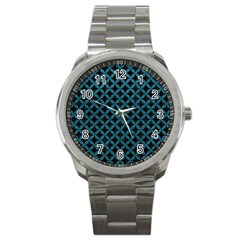 Circles3 Black Marble & Teal Leather (r) Sport Metal Watch by trendistuff