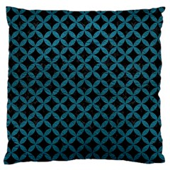 Circles3 Black Marble & Teal Leather (r) Large Flano Cushion Case (one Side) by trendistuff