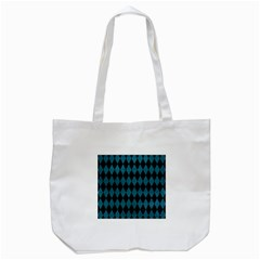Diamond1 Black Marble & Teal Leather Tote Bag (white) by trendistuff