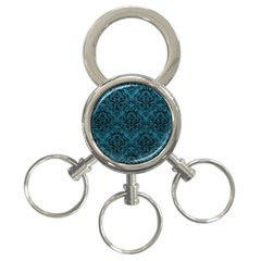 Damask1 Black Marble & Teal Leather 3 Ring Key Chains by trendistuff